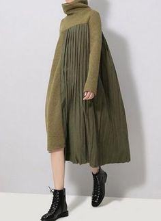 Color Block Ruffles Sweater High Low Shift Dress (1260311)