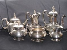 6-PIECE TIFFANY STERLING TEA SET- IVY PATTERN WITH PUTTI FINIALS