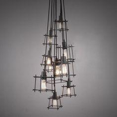 New Decorative Hanging Pendant Lights Square Metal Frame Modern ...