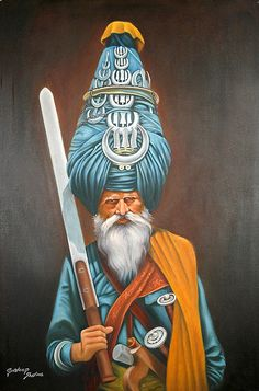 "Nihang (title from his website) / Khalsa (title on Fine Art America) by Gurdeep Sharma, India: oil on canvas 24"" x 36"" {traditional, 2008} >>look up the story behind this warrior"