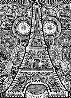 Eiffel Tower - Zentangle Design by Janelle-Dimmett on DeviantArt Easy Doodle Art, Doodle Art Designs, Doodle Art Drawing, Zentangle Drawings, Mandala Drawing, Cool Art Drawings, Art Drawings Sketches, Zentangles, Easy Zentangle