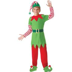 Help Santa this Christmas in a festive Elf Costume for kids! This Elf Costume features an elf tunic and pants with a pixie hem, plus a matching elf hat. Diy Christmas Elves, Christmas Elf Costume, Halloween Costume Shop, Halloween Diy, Christmas Carnival, Toddler Christmas, Christmas Parties, Christmas Morning, Christmas Projects