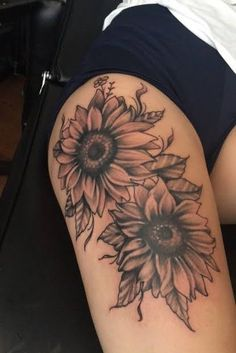 My own creation of sunflowers half sleeve tattoos roses, rose thigh tattoos, thigh sleeve