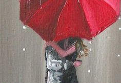 Couple Under Umbrella For Painting | ... KISSING IN THE RAIN COUPLE UNDER RED UMBRELLA PAINTING 12x16 | eBay ... ROMANTIC