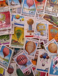 world postal ephemera JUMBO listing 50 hot air by thriftypyg, Postage Stamp Collection, Dot Day, Zen Doodle, Stamp Collecting, Hot Air Balloon, Postage Stamps, Illustrations Posters, Ephemera, Paper Crafts