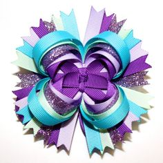 """4"""" Turquoise Purple Glitter & Mint Green Stacked Hair Bow"""