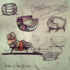 Croqui inicial da Poltrona Tangelina lançada em 2011. Feito por Leo Lattavo Chairs, Art, Initials, Sofa Chair, Sketch, Art Background, Kunst, Stool, Performing Arts