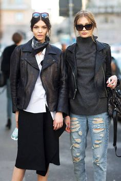 ★street style#denim#black#jeans#skirt