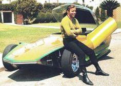 Funny Random Pics: vintage Captain Kirk William Shatner leaning against concept sports car