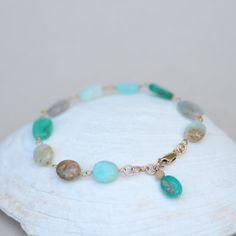 Blue Peruvian Opal Nugget Silver Bracelet  14K Gold by LuxBijou, $59.00 10% off coupon code: FRIEND10