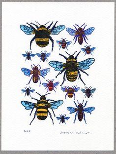 John Dilnot Bees Mini Print - Trouva