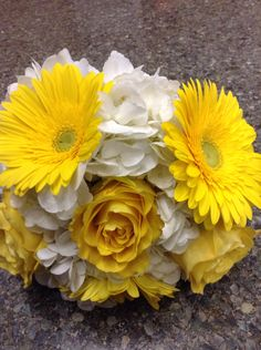 Bright yellow Gerbera bouquet. Bridesmaid Bouquet, Wedding Bouquets, Wedding Flowers, Gerbera Bouquet, Wedding Flower Packages, Groomsmen Boutonniere, Flower Packaging, Bright Yellow, Flower Making