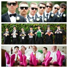 Groomsmen creativity. Consider doing something that makes your groomsmen stand out, different...helps make those captured memories so much more fun!