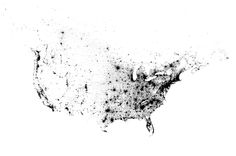 """""""This is a map of every person counted by the 2010 US and 2011 Canadian censuses. The map has 341,817,095 dots - one for each person."""" / Click through and zoom all the way in / by Brandon Martin-Anderson"""