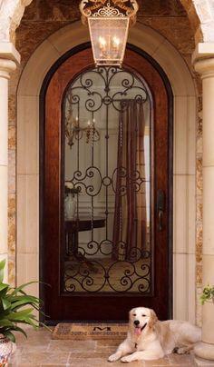 Tuscan Exterior Door - CLOSEOUT, Ambella Home, Door- My next house has to have round door! Tuscan Style Homes, Tuscan House, Door Entryway, Entrance Doors, Front Doors, Doorway, Wrought Iron Doors, Cool Doors, Mediterranean Home Decor