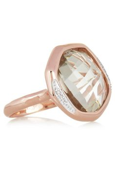MONICA VINADER Riva rose gold-plated, amethyst and pavé diamond ring - FABS!!