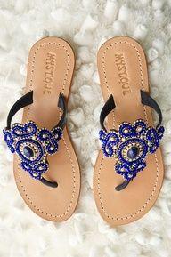 Calypso blue embellished sandal #bostonproper