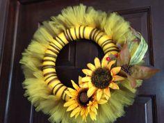 Items similar to Sunflower Fall Tulle Wreath on Etsy Sunflower Fall Tulle Wreath by VeryOwnCreations on Etsy<br> Fall Tulle Wreath, Diy Spring Wreath, Fabric Wreath, Christmas Mesh Wreaths, Valentine Day Wreaths, Holiday Wreaths, Christmas Yarn, Winter Wreaths, Holiday Decorations