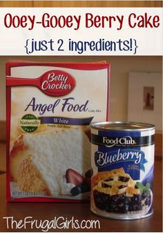 Gooey Blueberry Angel Food Cake Dessert Recipe! ~ from TheFrugalGirls.com {SO yummy, and just 2 ingredients!!} #cakes #recipes #thefrugalgirls