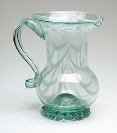 Glass Pitchers, Kettles, Early American, Blown Glass, Antique Furniture, Folk Art, Stoneware, 19th Century, Household