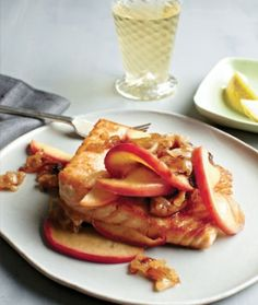 Seared Salmon with Carmelized Onions and Apples