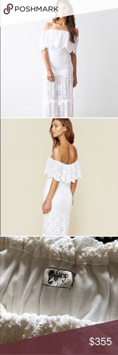 ✨NIGHTCAP POSITANO LACE DRESS Flattering slim fit, off shoulder. Worn once to my rehearsal dinner. Very minor discoloration ^. Such a stunning dress but it does not fit me anymore :) Nightcap Dresses Strapless
