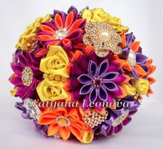Fabric Wedding Bouquet Brooch bouquet fuchsia orange от LIKKO