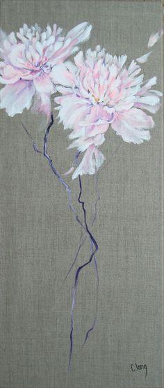 """http://chalang.wordpress.com .""""Pivoines"""" on caneva by Chantal Lang"""