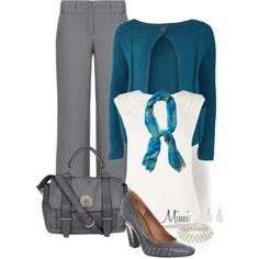 """""""Gray & Teal"""" by myfavoritethings-mimi on Polyvore"""