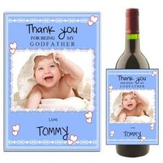 Personalised Godfather Thank you Wine Bottle PHOTO Label N28