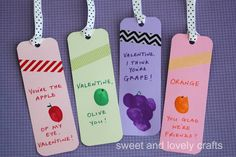 These fruit thumbprint valentines are cute as bookmarks. But you could also do something like this for Fruit of the Spirit?