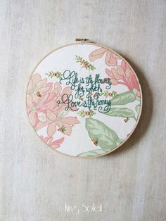 Love is the Honey Embroidery Wall Art
