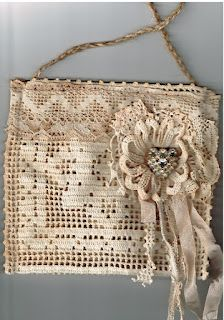 """""""Doily Bag"""" -- No tutorial. (Don't include flower, coordinate trim with doily better, clean doily first!)"""