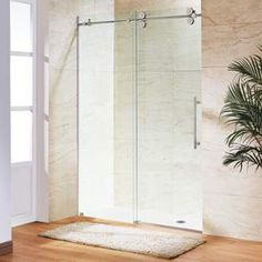 """View the Vigo VG60416074 60"""" Frameless Shower Door with 3/8"""" Clear Glass at FaucetDirect.com."""