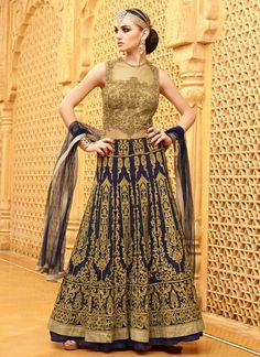 Fascinating Royal Blue and Golden Colored Designer Anarkali Suit