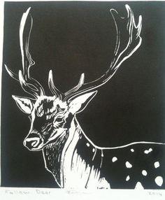 Linogravure de cerf daim par zeenieweenies sur Etsy