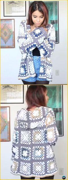 Crochet Granny Square Sweater Coat Free Pattern Video - Crochet Women Sweater Coat-Cardigan Free Patterns