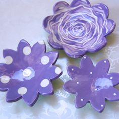 Orchid purple ceramic dishes set of 3 flower pottery by maryjudy