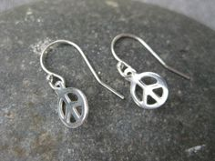Peace Sign Earrings Sterling Silver Tiny Dangle by ESDesigns14, $8.00