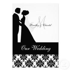 Black and White Wedding Couple Wedding Invitation | Zazzle.co.uk