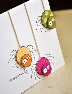 Halloween Inspiration (Creepy Crawly) ~ Simply Stamped ... I could see making this into a get well card (flu).