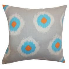 """Cotton pillow with an ikat dot motif and feather down fill.  Product: PillowConstruction Material: CottonColor: Blue and multiFeatures:   Clean knife edge finishInsert includedHidden zipper for easy removal and cleaning Dimensions: 18"""" x 18""""Cleaning and Care: Spot clean recommended"""