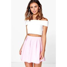 Boohoo Basics Sophie Solid Colour Box Pleat Skater Skirt ($10) ❤ liked on Polyvore featuring skirts, pale pink, flared midi skirt, white circle skirt, white midi skirt, circle skirt and flared skirt