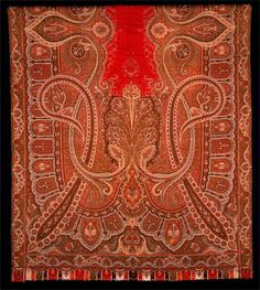 "Paisley Shawl - Jacquard-Woven Wool with Harlequin Bordered Edges. England or France. Circa 1840-1859. 125"" x 60""."