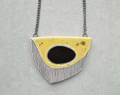 Collana in ceramica, gioielli dichiarazione, Collana geometrica, dipinto a mano contemporaneo gioielli per le donne, regali per lei