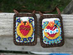 Brown Scapular of the Sacred Heart of Jesus and Immaculate Heart of Mary. Hand embroidered.