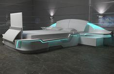 """Коллекция Space. Полностью разработана, спроектирована и произведена на нашем заводе. Коллекция заняла: 1-е место на выставке мебели в Италии. (Милан)  3-е место на выставке в Германии (Кёльн) Диплом """"лучшая мебельная коллекция в стиле Hi-tech"""" (Москва)  Модель оснащена: -40 дюймовый выдвигающийся ТВ. -встроенная подсветка -датчик подсветки пола (включается автоматически когда человек заходит в спальню, либо спускает ноги с кровати."""
