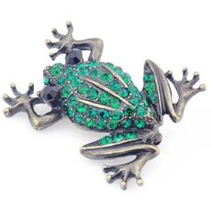 Emerald Green Frog Pin