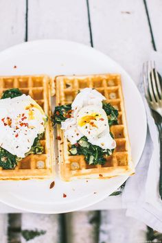 savoury waffles, chard + poached eggs.