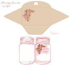 Free-printable tiny Pink roses n Jar card & envelope